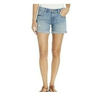 Lucky brand roll up distress mid wash denim shorts